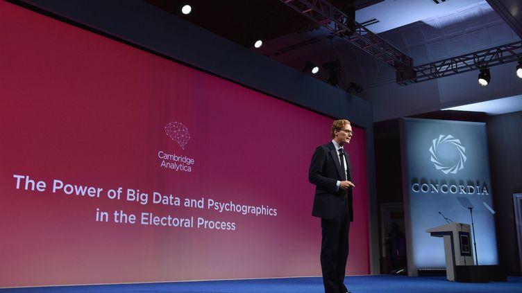 Alexander Nix, dirigeant de la société Cambridge Analytica lors du sommet Concordia, à New York, le 19 septembre 2016. (BRYAN BEDDER / GETTY IMAGES NORTH AMERICA / AFP)