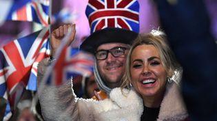 Des Brexiters rassemblés pour fêter la sortie de l'Union européenne le 31 janvier à Londres. (DANIEL LEAL-OLIVAS / AFP)