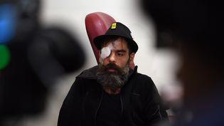 Jérôme Rodrigues, le 27 janvier 2019 à l'hôpital Cochin, à Paris. (CHRISTOPHE ARCHAMBAULT / AFP)