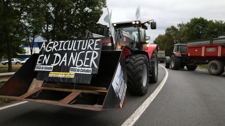 """Un manifestant conduit un tracteur avec une pancarte """"Agriculture en danger"""" le 19 juillet 2015, près de Caen. (CHARLY TRIBALLEAU / AFP)"""