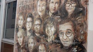 """Paris, le 1er septembre 2020.Le Mémorial de """"Charlie Hebdo"""" à la veille de l'ouverture du procès. (PHOTOPQR / LE PARISIEN / MATTHIEU DE MARTIGNAC / MAXPPP)"""