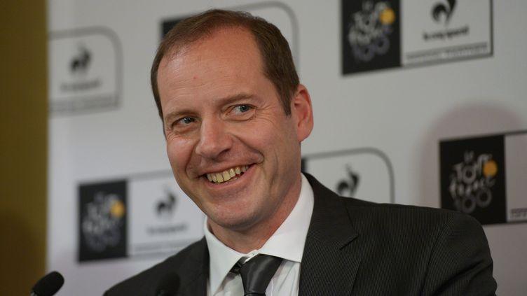 Le directeur du Tour de France, Christian Prudhomme, lors d'une conférence de presse à Sydney (Australie), le 1er mai 2013. (GREG WOOD / AFP)
