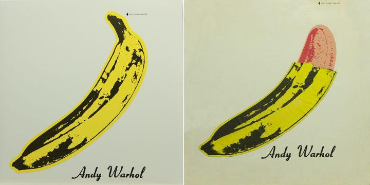 """Sur les pochettes originales du premier album du Velvet Underground and Nico conçues par Warhol, il était écrit """"Peel slowly and see"""" (pelez doucement et regardez). Une banane rose, très phallique, émergeait alors.  (Andy Warhol)"""