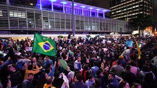Des milliers de personnes ont manifesté vendredi 23 août à Sao Paulo (Brésil) pour protester contre la gestion des incendies en Amazonie par le président Jair Bolsonaro. (NELSON ALMEIDA / AFP)