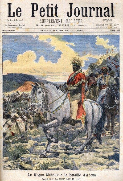 Le négus Ménélik II ( 1844-1913), souverain d'Ethiopie et vainqueur des Italiens à la bataille d'Adoua en 1896. Gravure publiée le 28 août 1898 dans «Le Petit Journal», d'après le tableau de Paul Buffet exposé au Salon de 1898. (AFP - LEEMAGE)