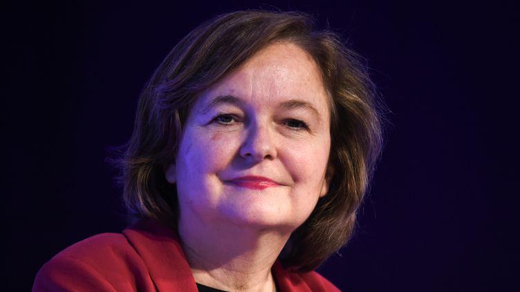Nathalie Loiseau lors d'une réunion organisée par le Medef à Paris, le 25 avril 2019. (ERIC PIERMONT / AFP)