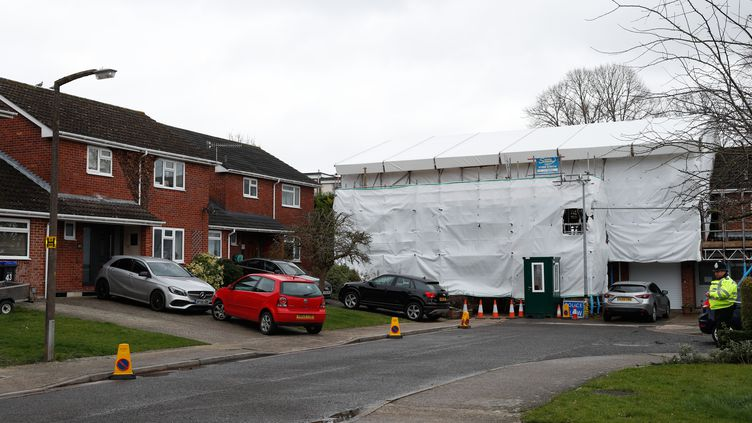 Le domicile de l'ancien espion russeSergei Skripalà Salisbury empoisonné au Novitchok (Royaume-Uni), le 4 mars 2019. (ADRIAN DENNIS / AFP)