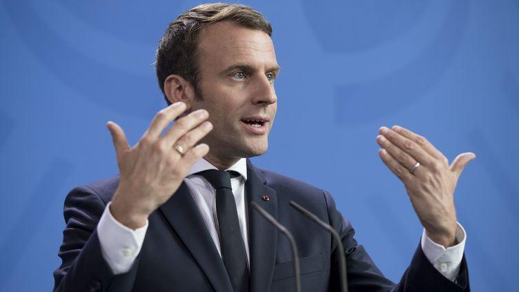 Emmanuel Macron lors d'une conférence de presse à Berlin (Allemagne), le 15 mai 2017. (EMMANUELE CONTINI / AFP)