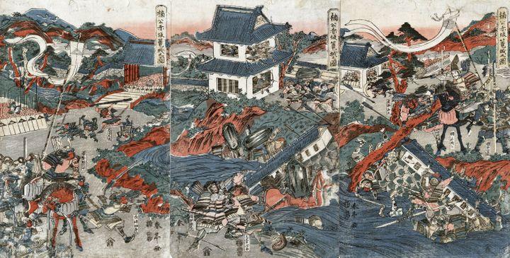 Samouraïs au combat, estampe deShuntei Katsukawa (1770-1833) (AFP - ANN RONAN PICTURE LIBRARY)