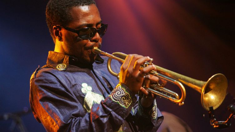 Roy Hargrove lors de son concert à Jazz in Marciac (Gers) le 10 août 2004. (MAXPPP/LA DEPECHE DU MIDI)