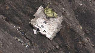 Un débris de l'Airbus A320 de Germanwings après son crash dans les Alpes-de-Haute-Provence, le 24 mars 2015. (DENIS BOIS / GRIPMEDIA / AFPTV)