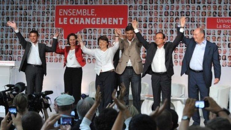 Les candidats à la primaire socialiste se sont retrouvés lors des Universités d'été du PS à la Rochelle, les 26, 27 et 28 août 2011. (AFP - Pierre Andrieu)