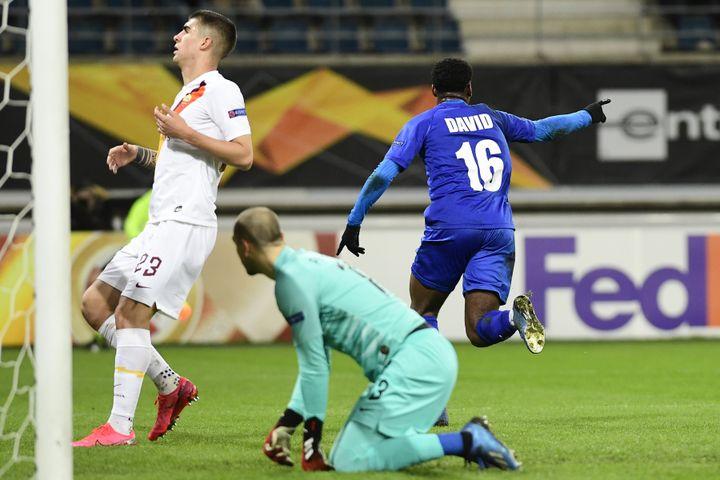 Jonathan David buteur avec La Gantoise contre la Roma en Ligue Europa (LAURIE DIEFFEMBACQ / BELGA MAG)
