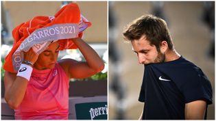 Caroline Garcia (gauche) et Corentin Moutet (droite) n'ont pas réussi à atteindre le 3e tour à Roland-Garros. (AFP)