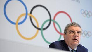 Le président du Comité international olympique (CIO) lors d'une conférence de presse à Lausanne (Suisse), le 21 juin 2016. (FABRICE COFFRINI / AFP)