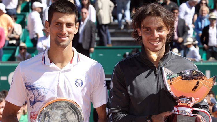 Novak Djokovic et Rafael Nadal à la remise des trophées 2012 à Monte Carlo