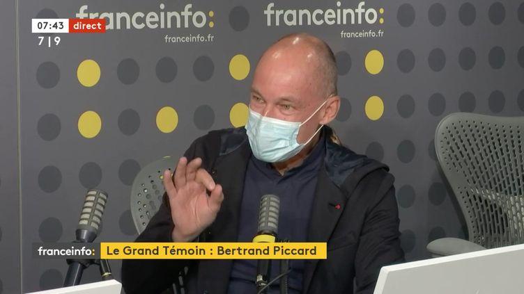 Bertrand Piccard, initiateur et président de la fondation Solar Impulse, mardi 13 avril sur franceinfo. (CAPTURE D'ECRAN/FRANCEINFO)