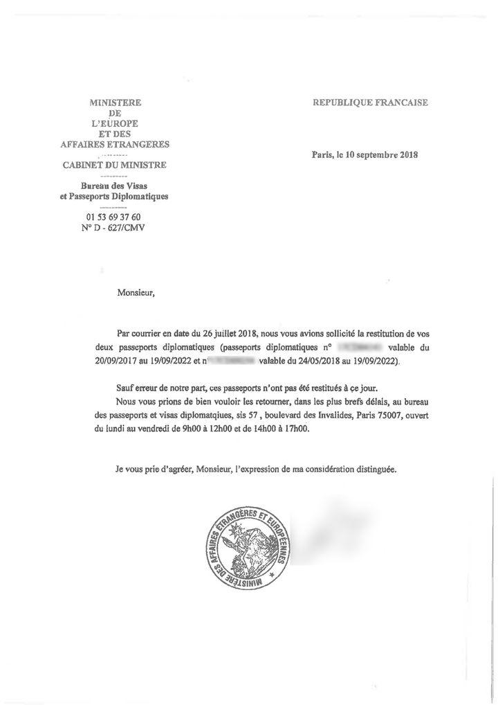 Le ministère des Affaires étrangères renouvelle sa demande par courrier le 10 septembre 2018. (FRANCEINFO)
