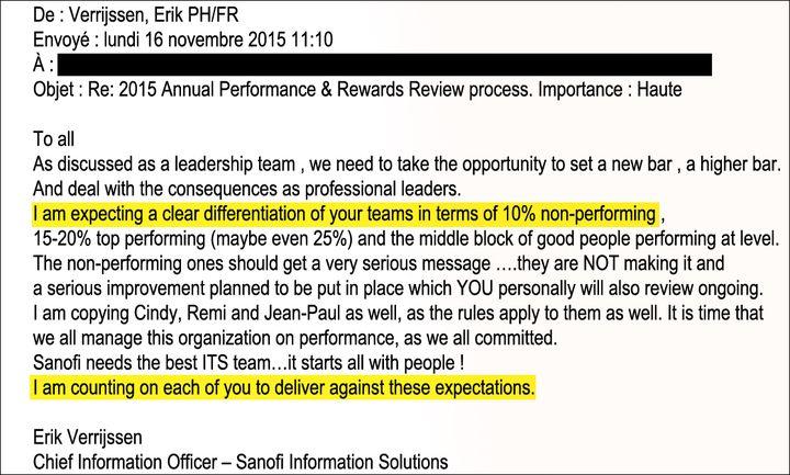 Mail demandant un quota de 10% de salariés non performants. (Document confidentiel Sanofi)