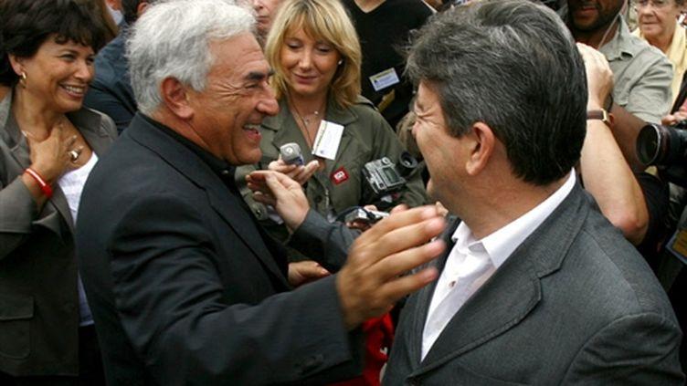Jean-Luc Melenchon  et Dominique Strauss-Kahn...en 2006. Mélenchon était encore au PS (AFP/FRED DUFOUR)