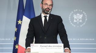Le Premier ministre Edouard Philippe lors d'une conférence de presseaprès le conseil des ministres, le 15 avril 2020. (MICHEL EULER / AFP)