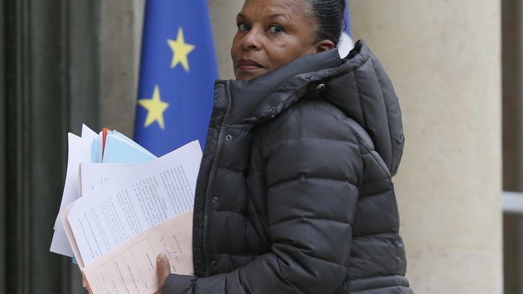 La ministre de la Justice Christiane Taubira, à l'Elysée, le 18 février 2015. (PATRICK KOVARIK / AFP)
