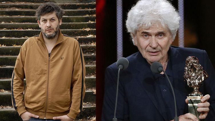Christophe Honoré à Lyon en 2019 (à gauche) etAlain Françon recevant un Molière à Paris en 2016 (AFP)