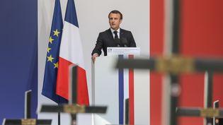 Emmanuel Macron lors de son discours sur le plateau des Glières, en Haute-Savoie, le 31 mars 2019. (LUDOVIC MARIN / AFP)