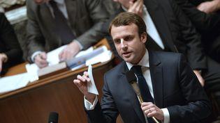 Le ministre de l'Economie, Emmanuel Macron, à l'Assemblée nationale, lors des questions au gouvernement, mardi 9 décembre 2014. (MIGUEL MEDINA / AFP)