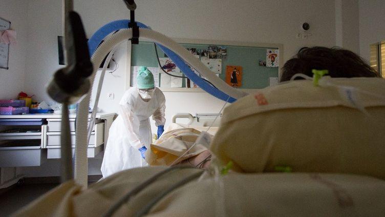 Une infirmière prend soin d'un patient malade du Covid-19 à l'hôpital de Purpan, à Toulouse (Haute-Garonne), le 27 novembre 2020. (FREDERIC SCHEIBER / HANS LUCAS / AFP)