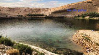 """Le """"lac de Gafsa"""" apparu dans le désert tunisien, le 25 juillet 2014. (LAC DE GAFSA / FACEBOOK)"""