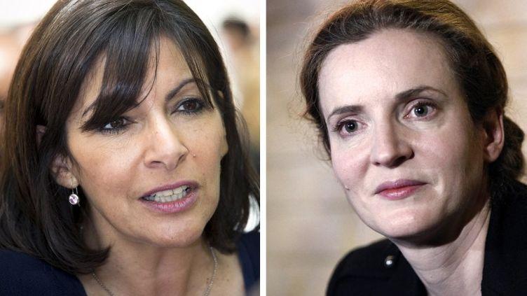 A gauche, Anne Hidalgo (PS), à droite, Nathalie Kosciuscot-Morizet (UMP), candidates à la mairie de Paris. (JOEL SAGET / AFP)