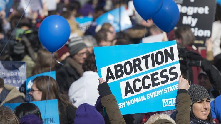 Manifestation pro-avortement devant la cour surpême à Washington (Etats-Unis), le 2 mars 2016. (SAUL LOEB / AFP)