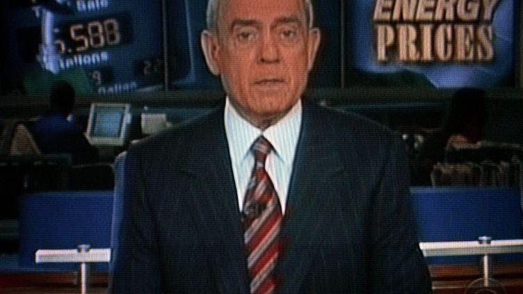 Dan Rather présente son dernier journal du soir le 9 mars 2005 sur CBS (MAXPPP)