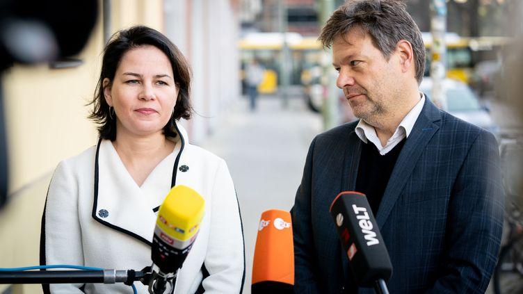 Les deux dirigeants des Verts allemands, Annalena Baerbock et Robert Habeck, lors d'un point presse le 20 janvier 2020 à Berlin (Allemagne). (KAY NIETFELD / DPA / AFP)