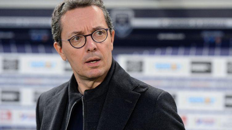 Jacques-Henri Eyraud, président de l'OM limogé, ici le 5 avril 2019. (NICOLAS TUCAT / AFP)