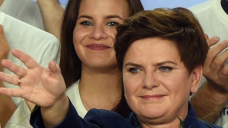Beata Szydlo fête sa victoire le 25 octobre 2015 à Varsovie. (AFP)
