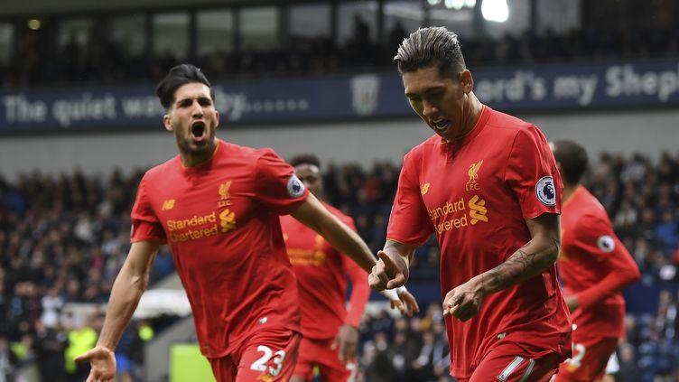 Roberto Firmino, buteur pour Liverpool contre West Bromwich Albion.  (JUSTIN TALLIS / AFP)