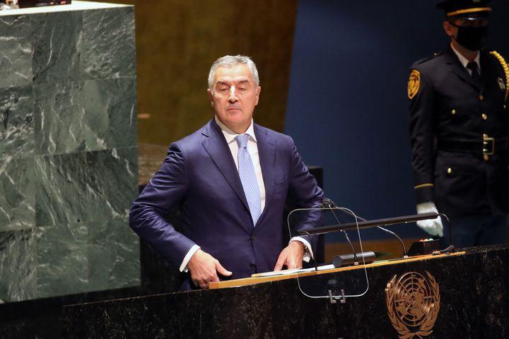 Le président du Monténégro Milo Djukanovic à la tribune des Nations-unies, le 23 septembre 2021 à New York (Etats-Unis). (SPENCER PLATT VIA AFP)