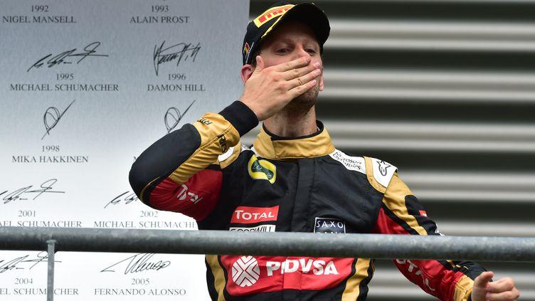 Romain Grosjean après sa troisième place au Grand Prix de Belgique cet après-midi (ANDREJ ISAKOVIC / AFP)