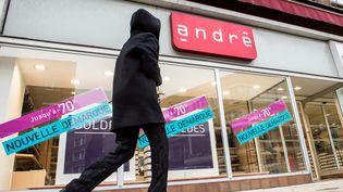 Une enseigne de chaussures André, le 25 janvier 2017, à Dunkerque (Nord). (PHILIPPE HUGUEN / AFP)