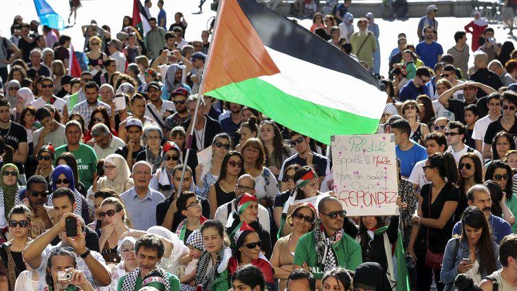 A Lyon, le 16 juillet 2014, unemanifestation contre l'offensive israélienne. (PHILIPPE MERLE / AFP)