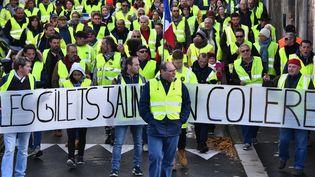 """Des """"gilets jaunes"""" manifestent contre l'augmentation des prix du carburant à Rochefort (Charente-Maritime), le 24 novembre 2018. (XAVIER LEOTY / AFP)"""