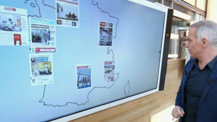 Tous les midis à partir du 16 avril, le journaliste Samuel Etienne va présenter les Unes de certains titres de la presse quotidienne régionale. (France 2)