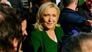 Marine Le Pen au sommet de l'élevage de Clermont-Ferrand (Puy-de-Dôme), le 7 octobre 2021. (ADRIEN FILLON / NURPHOTO / AFP)