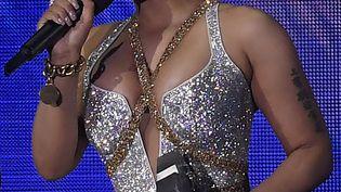 La rappeuse américaine Nicki Minaj, le 4 novembre 2018, lors d'un concert à Bilbao (Espagne). (LLUIS GENE / AFP)