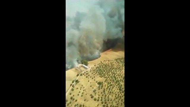 Le feu en Espagne vu du ciel