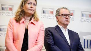 La président de la commission des Lois, Yaël Braun-Pivet, et le président du groupe LREM à l'Assemblée, Richard Ferrand, lors d'une conférence de presse, le 5 juillet 2018. (MAXPPP)