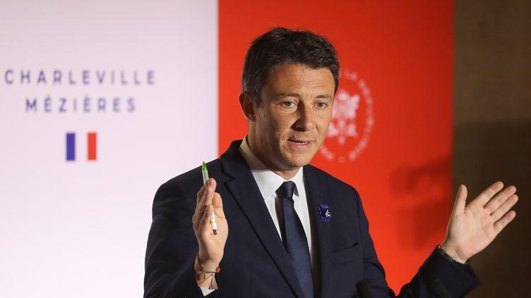 Benjamin Griveaux, lors d'une conférence de presse àCharleville-Mézières (Ardennes), le 7 novembre 2018. (Ludovic MARIN / AFP)
