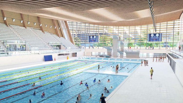 """Cette image distribuée par la """"Métropole du Grand Paris"""", montre à quoi ressemblera l'intérieur du Centre aquatique olympique, construit à Saint-Denis, pour les Jeux de Paris 2024.  (- / METROPOLE DU GRAND PARIS)"""